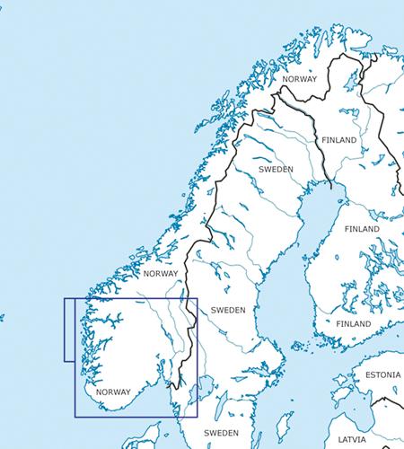 Norwegen Süd VFR Luftfahrtkarte Blattschnitt