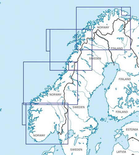 Norwegen VFR Luftfahrtkarten Blattschnitte