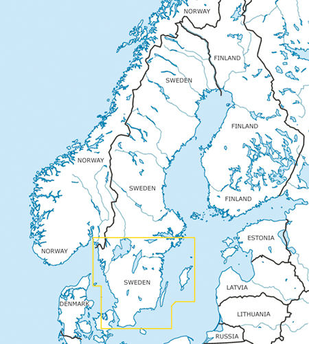 Schweden Süd VFR Luftfahrtkarte Blattschnitt