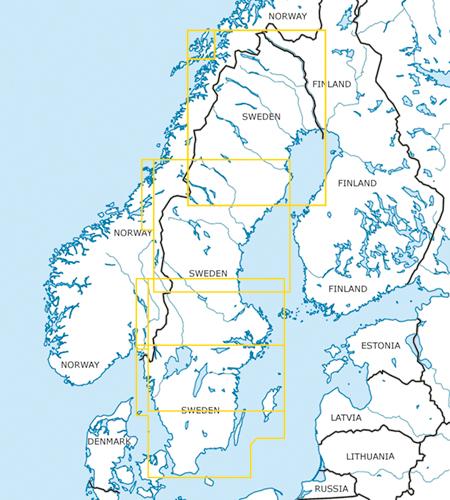 Schweden VFR Luftfahrtkarten Blattschnitte
