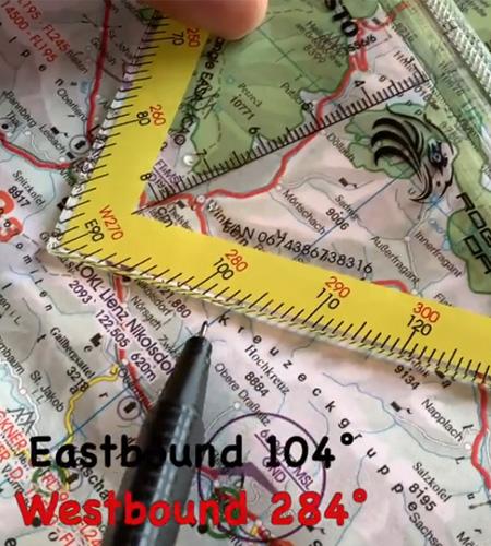Navigationsdreieck EASA ICAO Eastbound Westbound