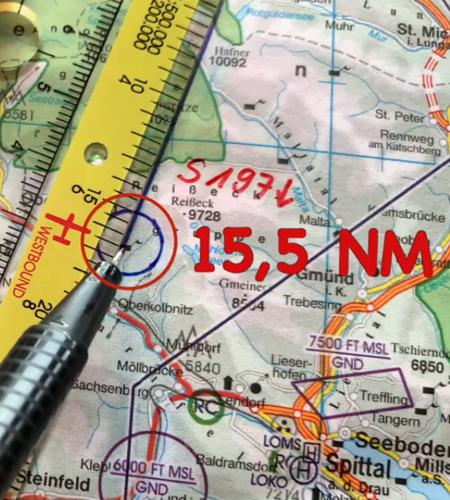 Navigationsdreieck EASA ICAO Entfernung