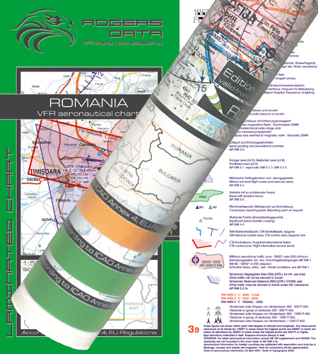 Rumänien Bulgarien VFR Karte Wandkarte