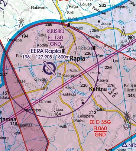 Estland VFR Karte Flugbeschränkungsgebiet