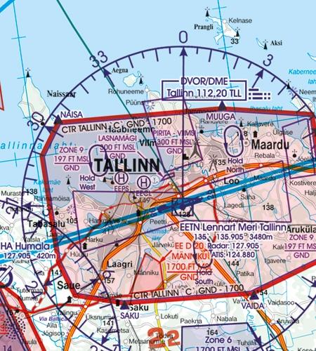 Estland VFR Karte Funknavigationsanlage DME