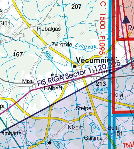 Lettland VFR Karte Flugplatz Adazi