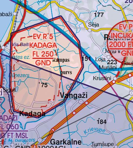 Lettland VFR Karte Flugbeschränkungsgebiet