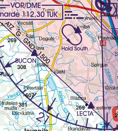 Lettland VFR Karte Pflichmeldepunkte