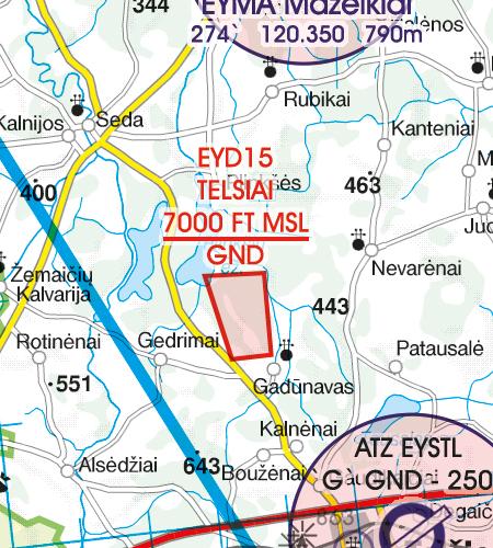 Litauen VFR Karte Danger area