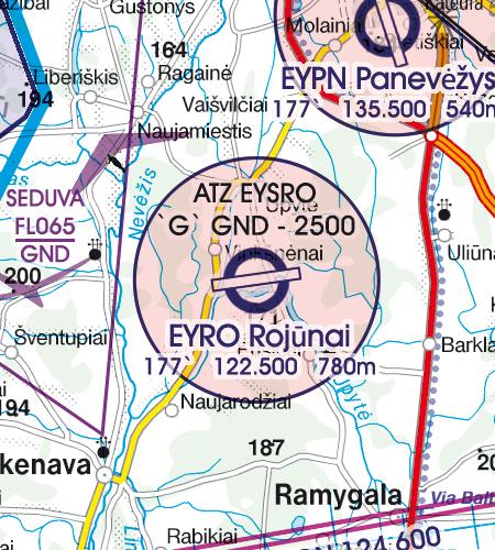 Litauen VFR Karte Flugplatzverkehrszone