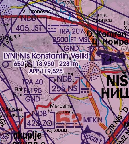 lyni-nis-konstantin-veliki-flughafen-serbien-main-airport-vfr-icao-karte