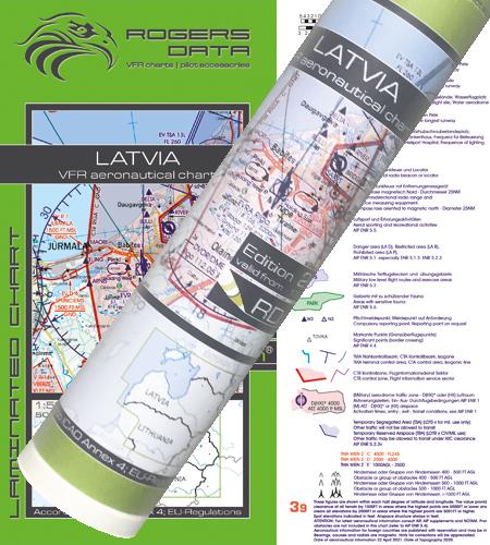 Lettland VFR Karte Wandkarte