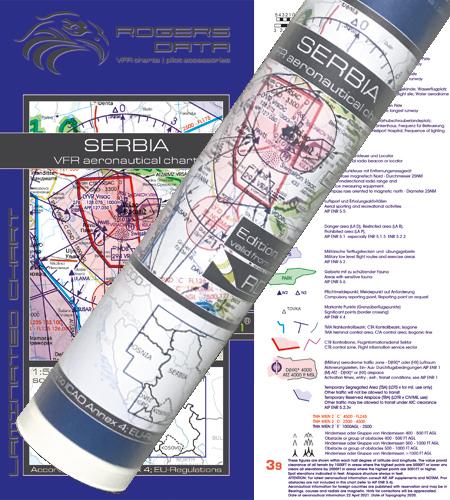 Serbien VFR Karte Wandkarte